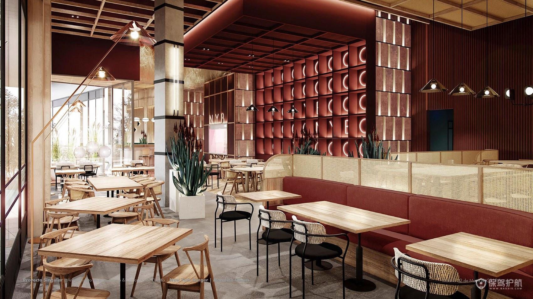 美式高雅西餐厅装修效果图