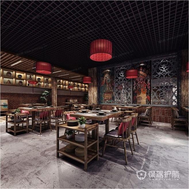 120平古典餐厅装修实景图