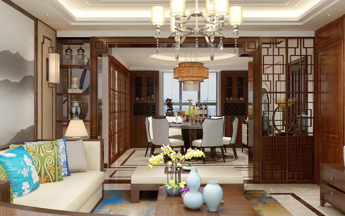 康大御金灣160平四居室中式古典家裝效果