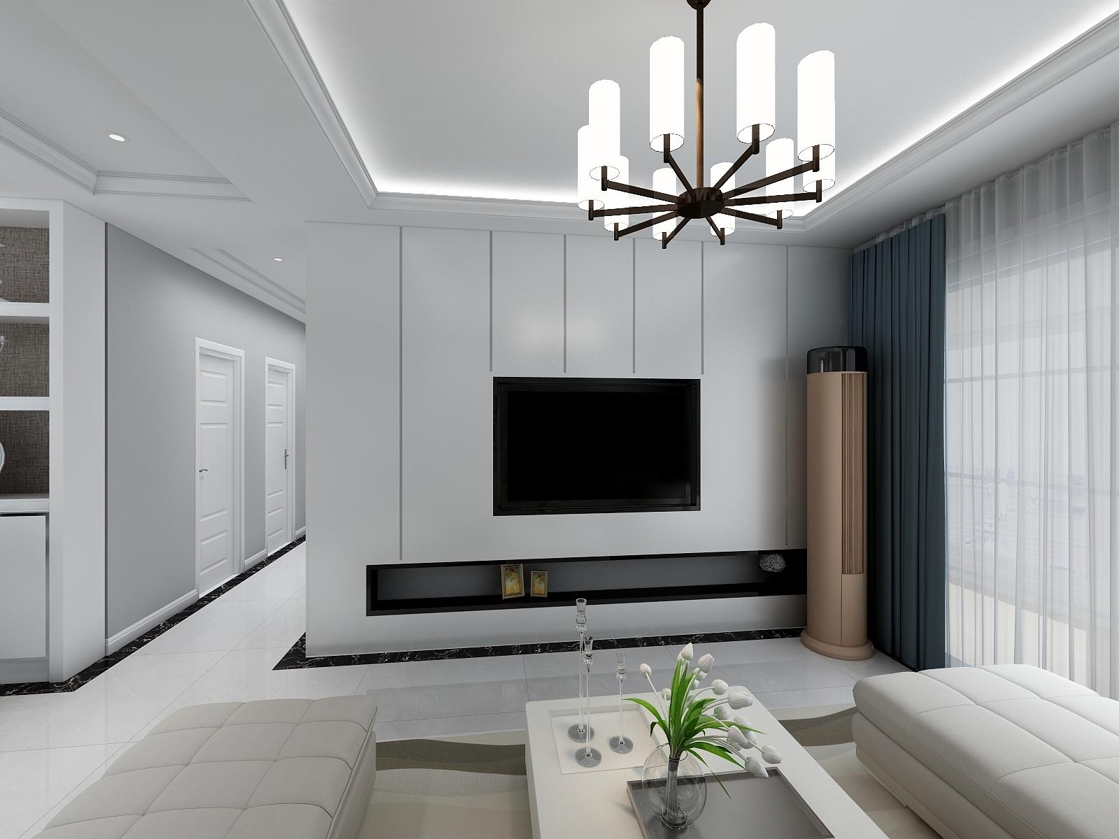 海爾悅湖蘭庭117平三居室現代黑白灰家裝效果