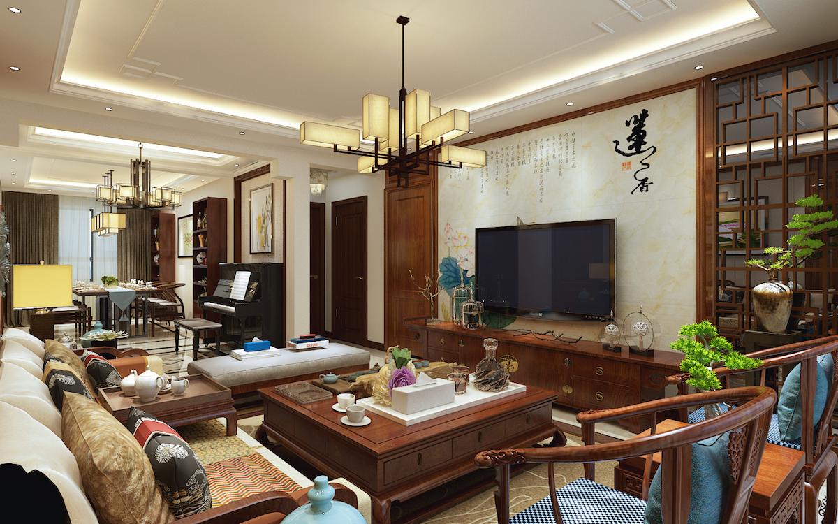 天意華苑130平三居室中式家裝效果