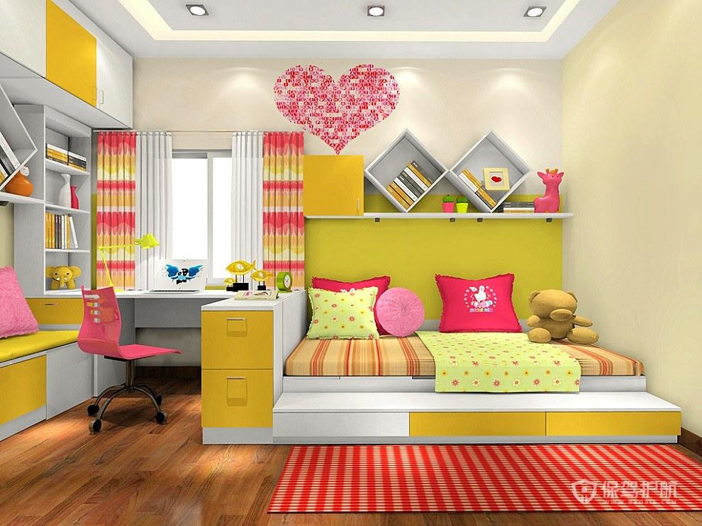 柠檬黄儿童卧室装修效果图