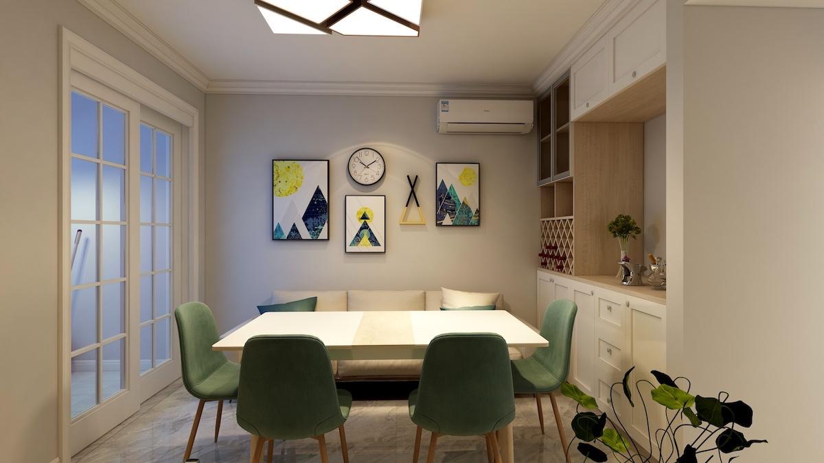 福源小区80平二居室北欧风格家装效果图片