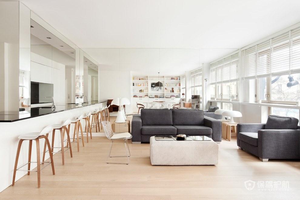 原木长条形客厅装修效果图