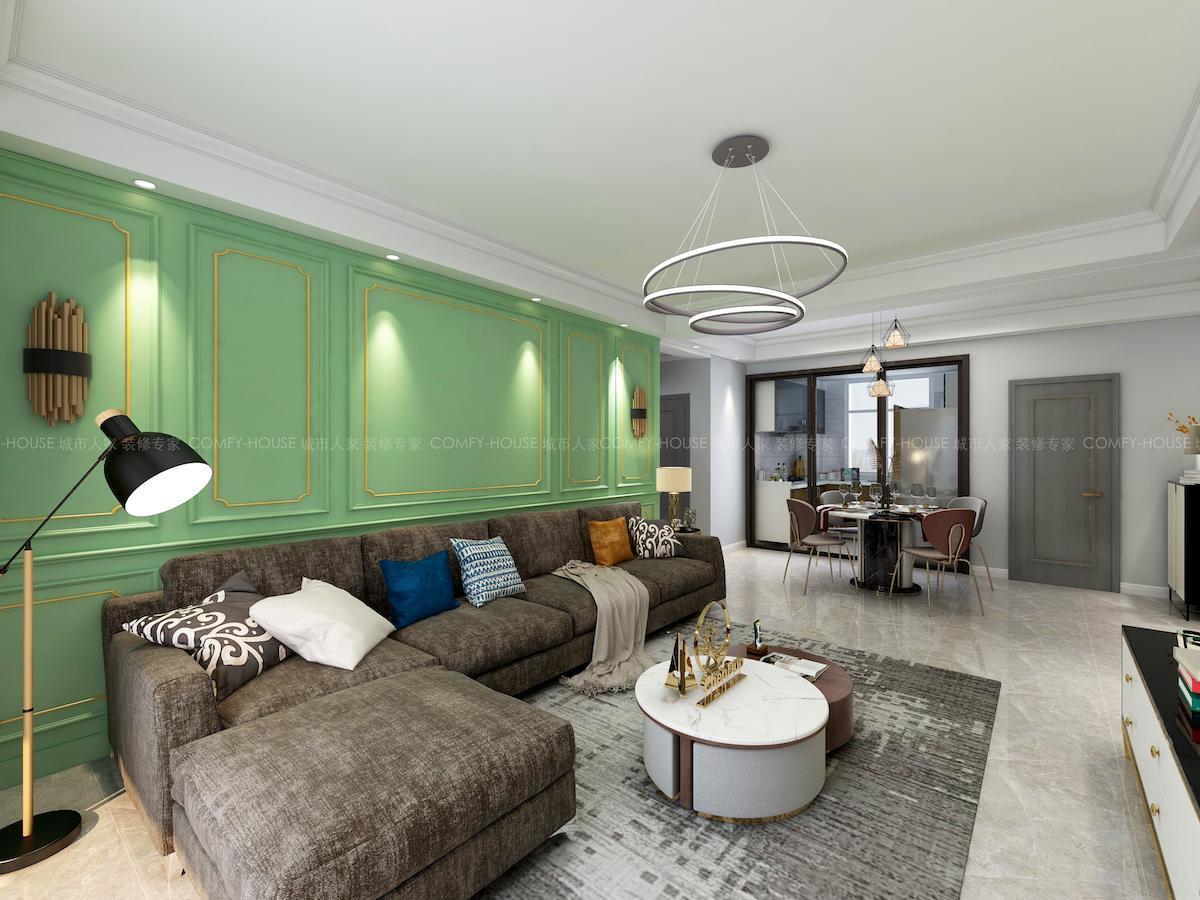 海信積米灣117平三居室現代輕奢家裝效果