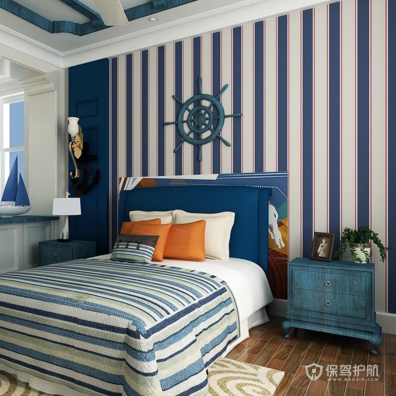 藏蓝色混搭风格卧室装修效果图