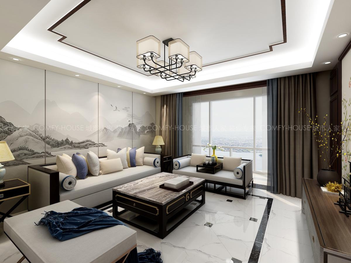 常青山莊120平三居室新中式家裝效果