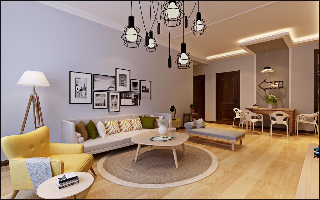 悦湖兰庭70平二居室现代北欧家装效果