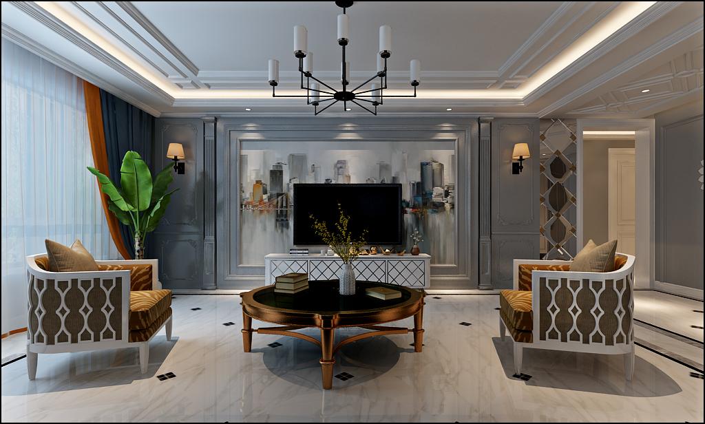 保利林语镜117平三居室现代美式家装效果