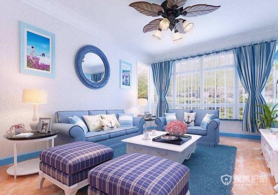 地中海风格怎么选择窗帘? 地中海风格客厅窗帘效果图