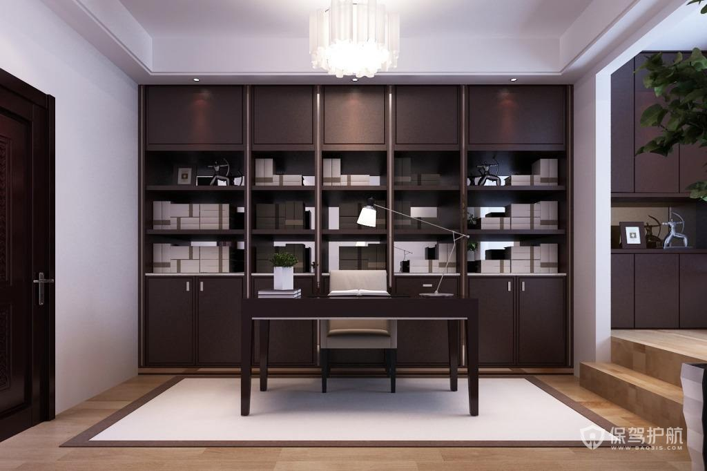 别墅新中式书房装修效果图