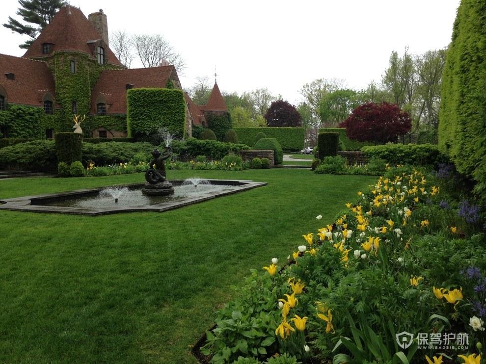 法式别墅喷泉花园装修效果图