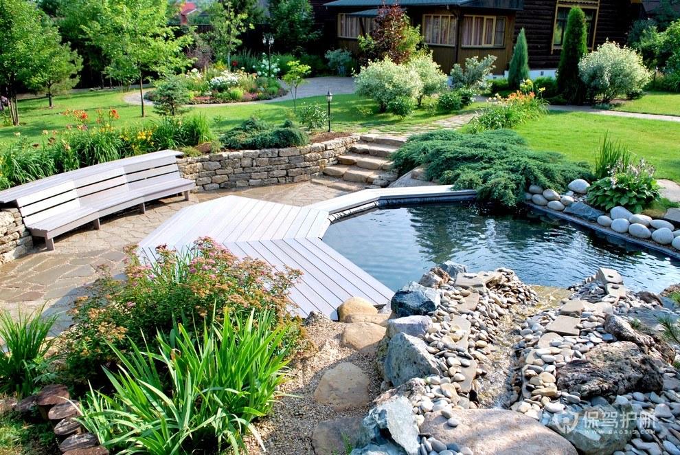别墅户外带泳池花园装修效果图