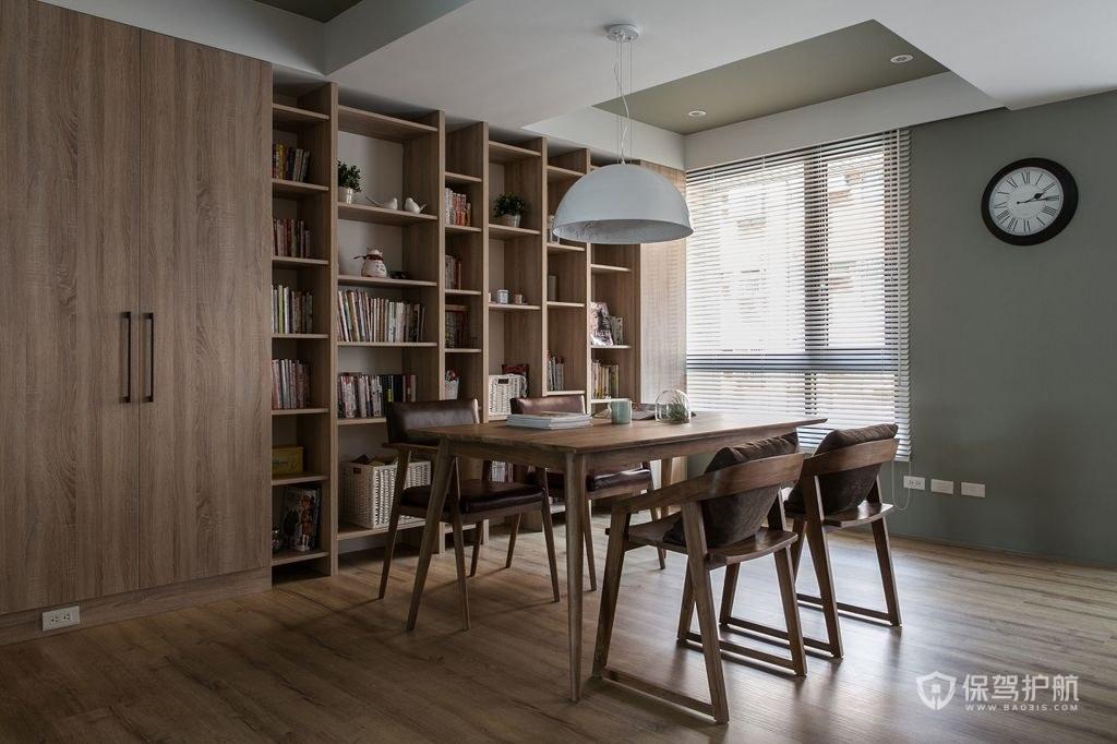 中式实木书房装修实景图