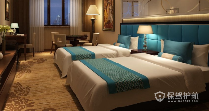 现代酒店双人房装修效果图