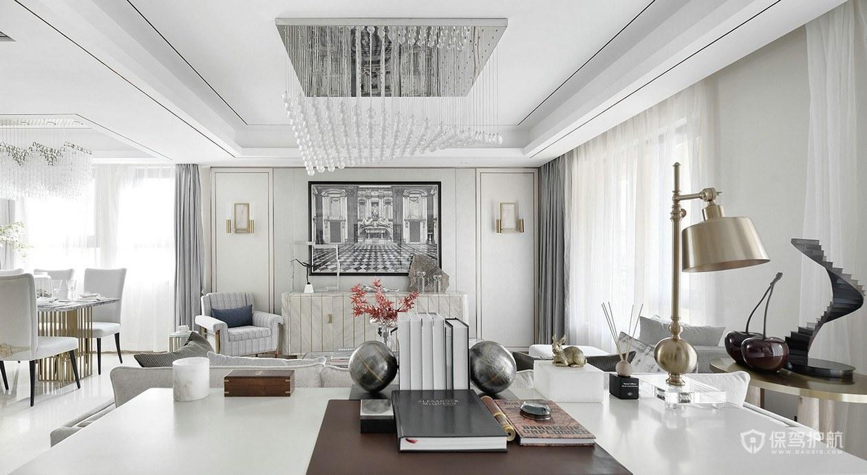 现代简约风别墅客厅装修实景图