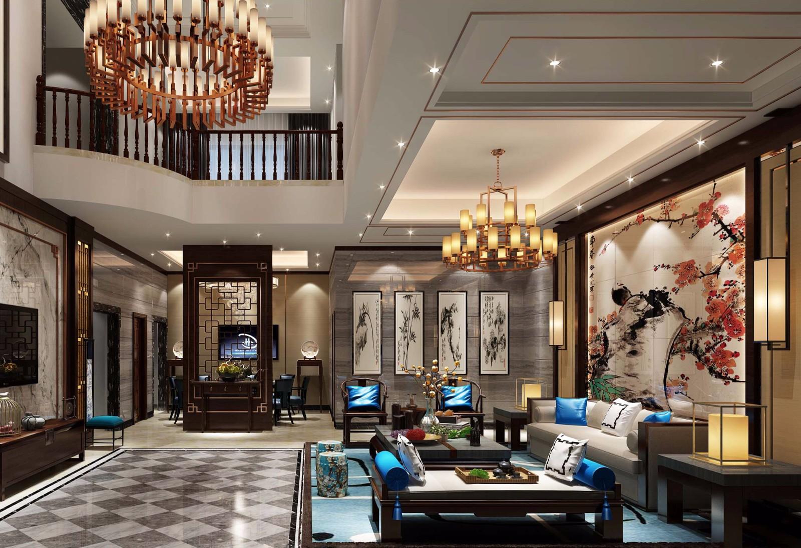三室两厅三卫一厨350平米美式风格别墅装修效果图