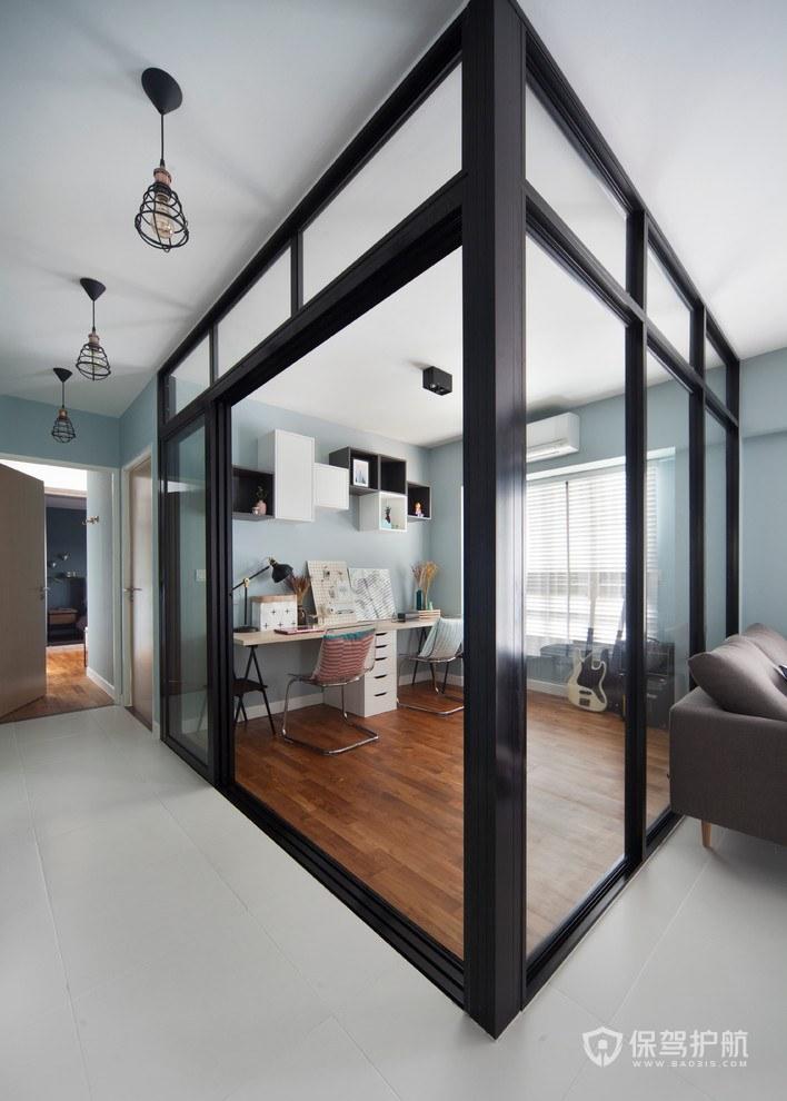 三居室书房玻璃隔断装修效果图