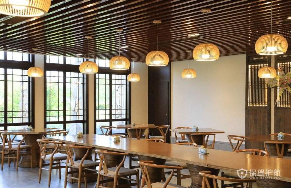 日式原木餐厅装修效果图