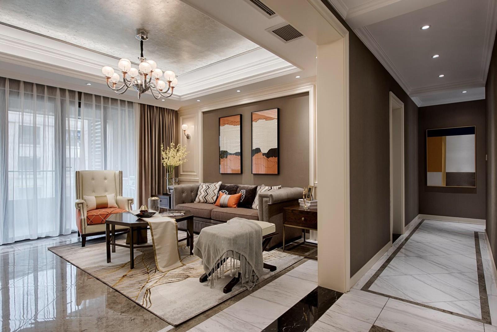 时尚大气三居室美式风格装修效果图