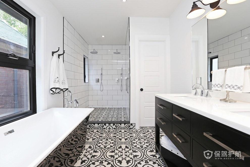 北欧高级黑色浴室装修效果图