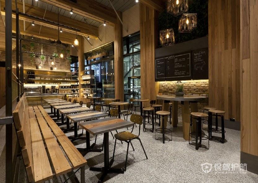现代原木风餐厅装修效果图
