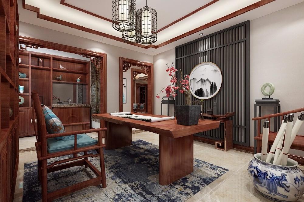 大理石+红木三居室中式风格装修效果图,,简约不失传统