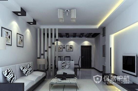 黑白简约风客厅装修效果图