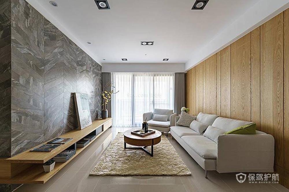 现代风格木质板材背景墙装修实景图