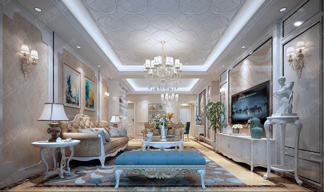 龙湖锦艺城137平三室两厅简欧风格装修案例效果图