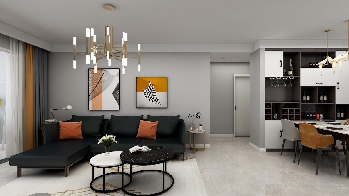 東方華庭商郡94平二居室現代北歐家裝效果