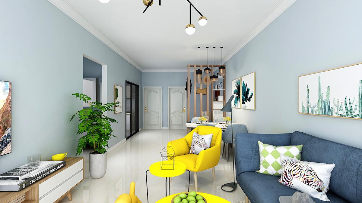 维多利亚湾105平三居室现代北欧家装效果