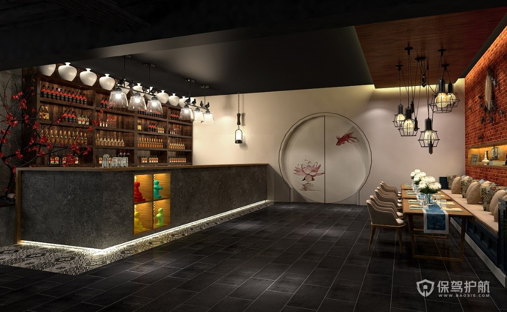中式古典餐廳裝修效果圖