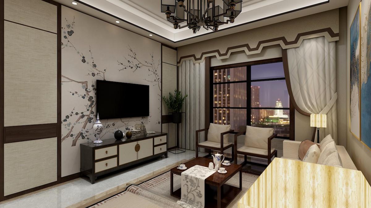 海信花街小鎮127平三居室新中式家裝效果