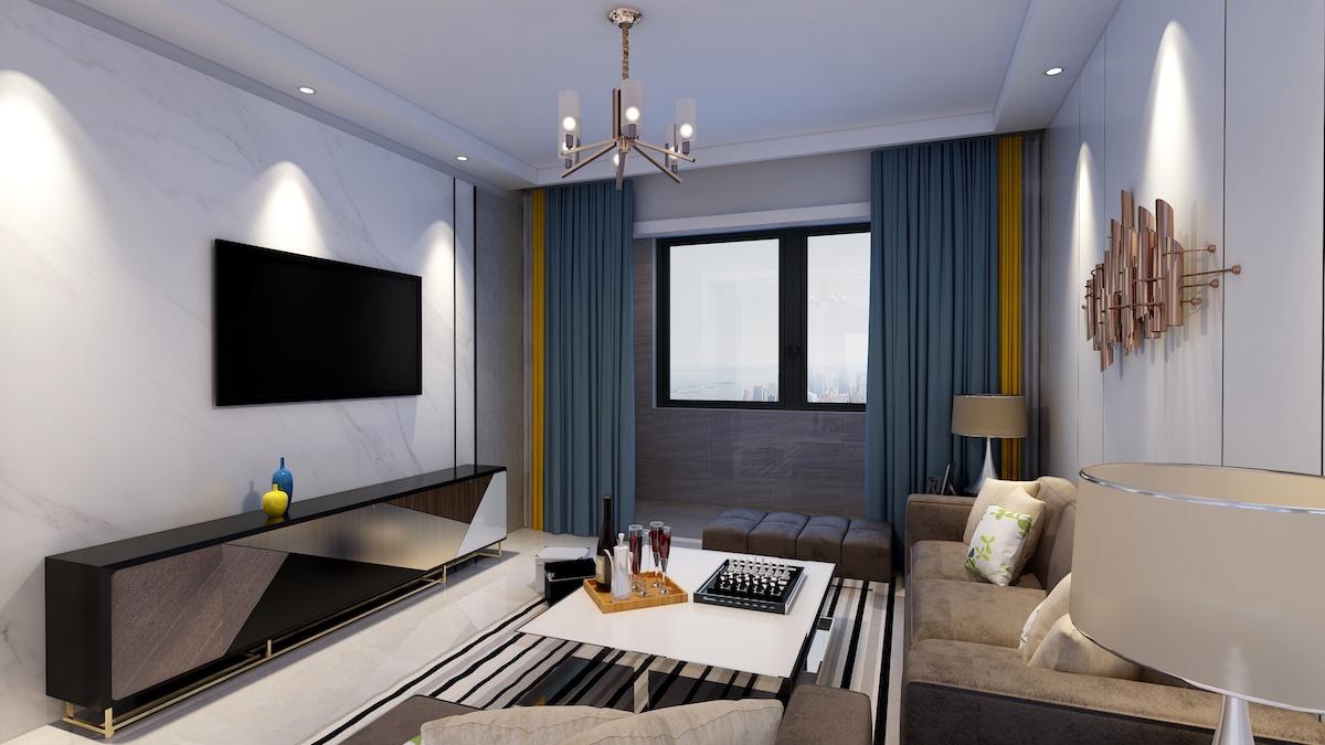 中間錦繡城錦苑128平三居室現代簡約家裝效果