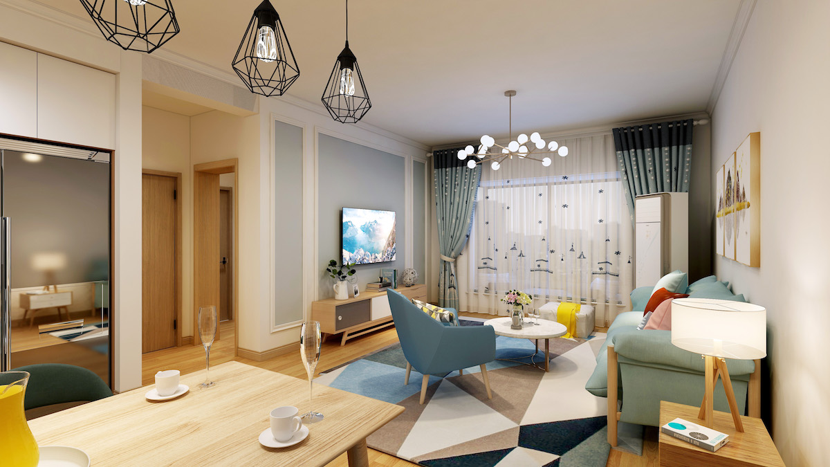 觀海華庭119平三居室現代北歐原木家裝效果