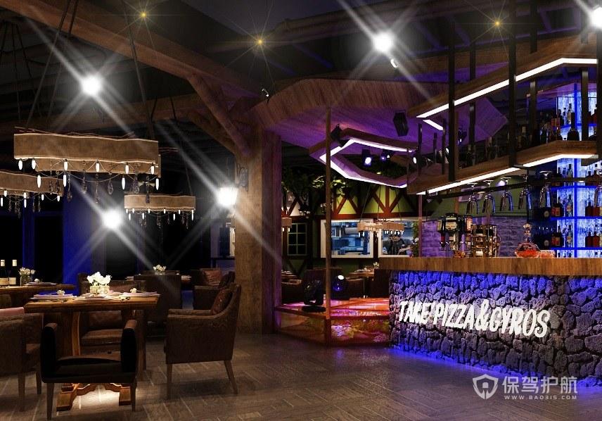 美式酒吧餐厅装修效果图