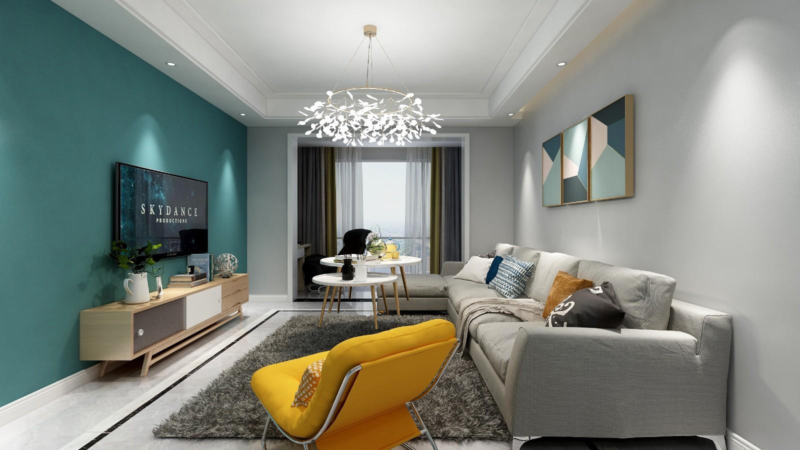 财富中心三居室现代风格装修效果图