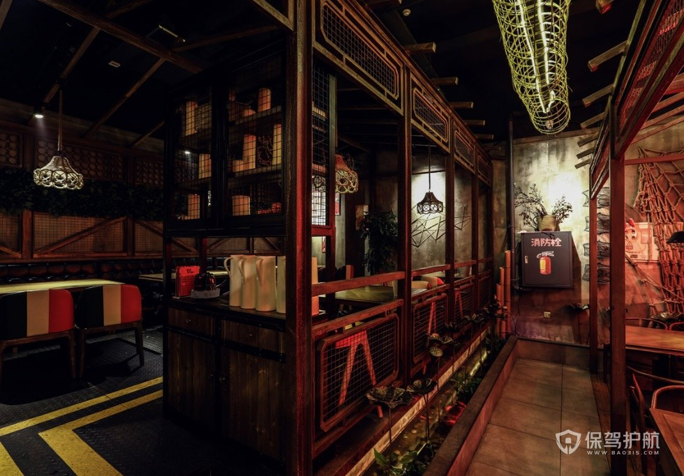 中式复古餐厅装修效果图