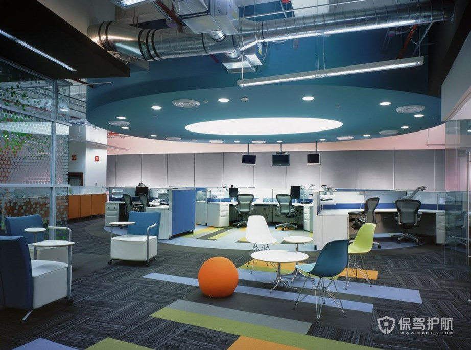简约风格开放式办公室办公区装修效果图