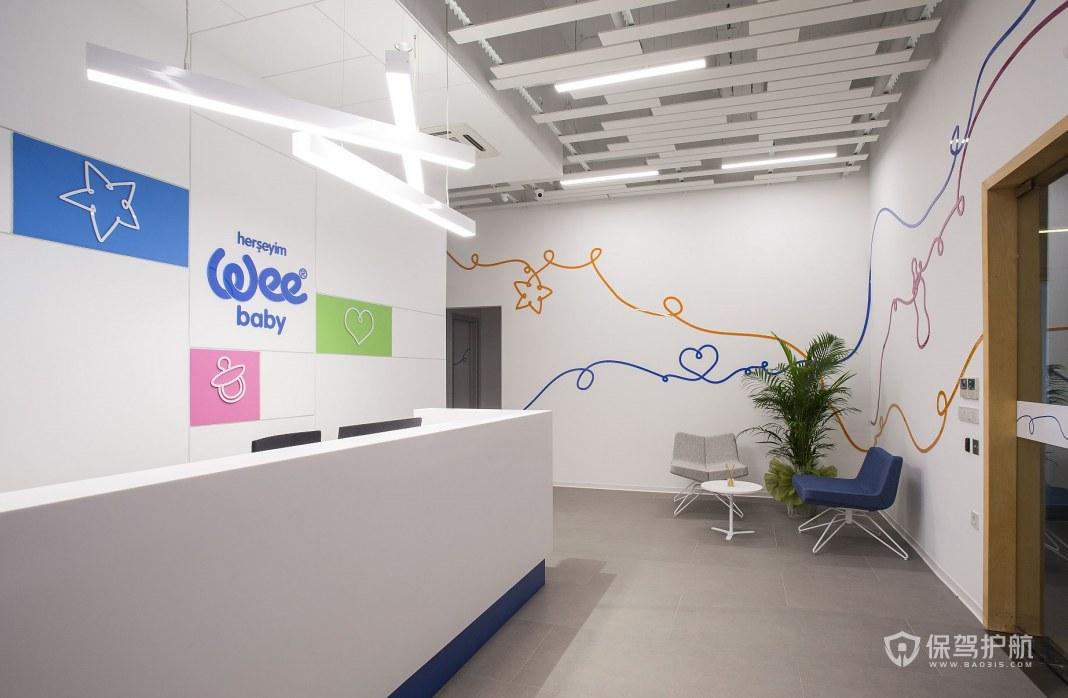 创意简约办公室前台装修效果图