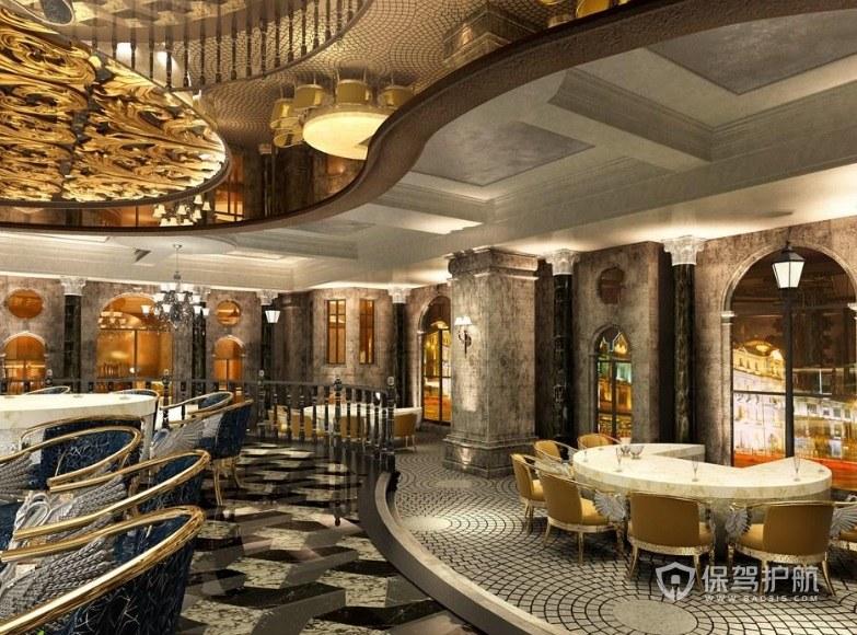 豪華歐式餐廳裝修效果圖