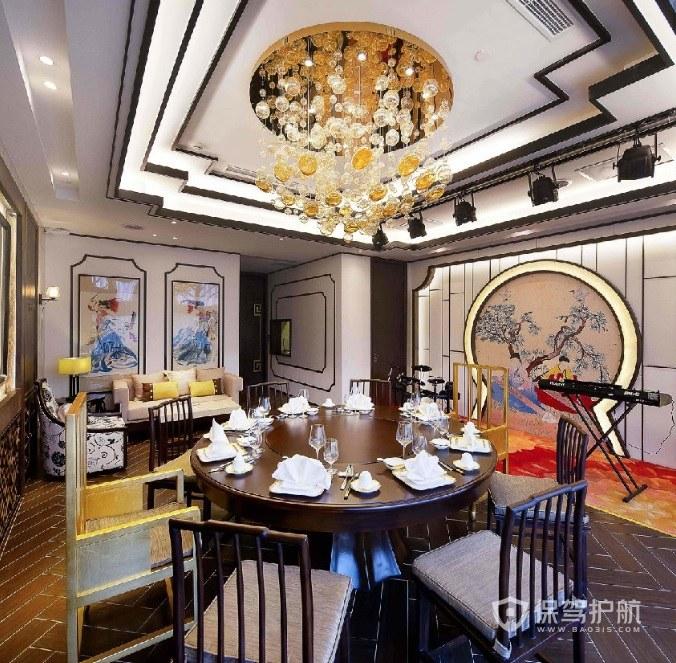 現代中式餐廳裝修效果圖