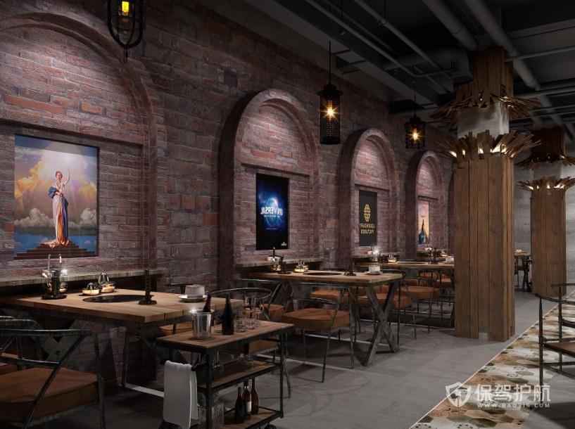 美式工业风餐厅装修效果图