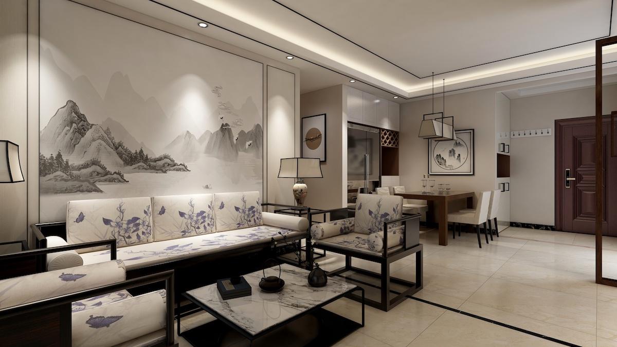 瑞海瀾山120平三居室新中式家裝效果