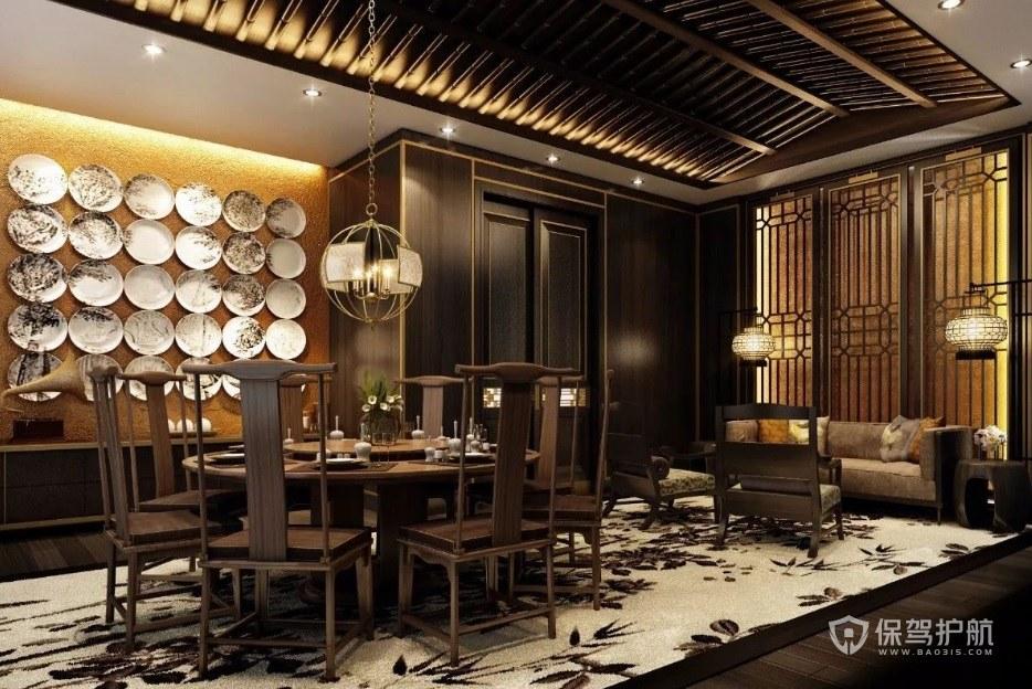 传统古典中式餐厅装修效果图