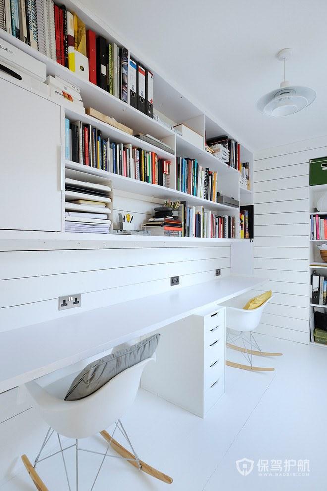 简约白色书房装修效果图-保驾护航装修网
