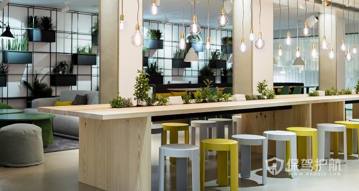 北欧风办公室用餐区装修效果图