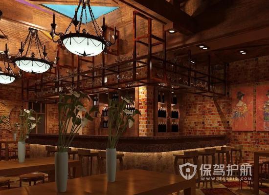 金色古典风格酒吧装修效果图