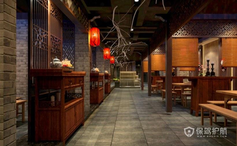 中式創意古風餐廳裝修效果圖